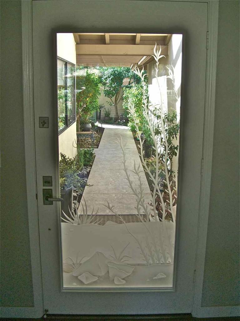 Etched Glass Door With Desert Scene Sans Soucie Art Glass
