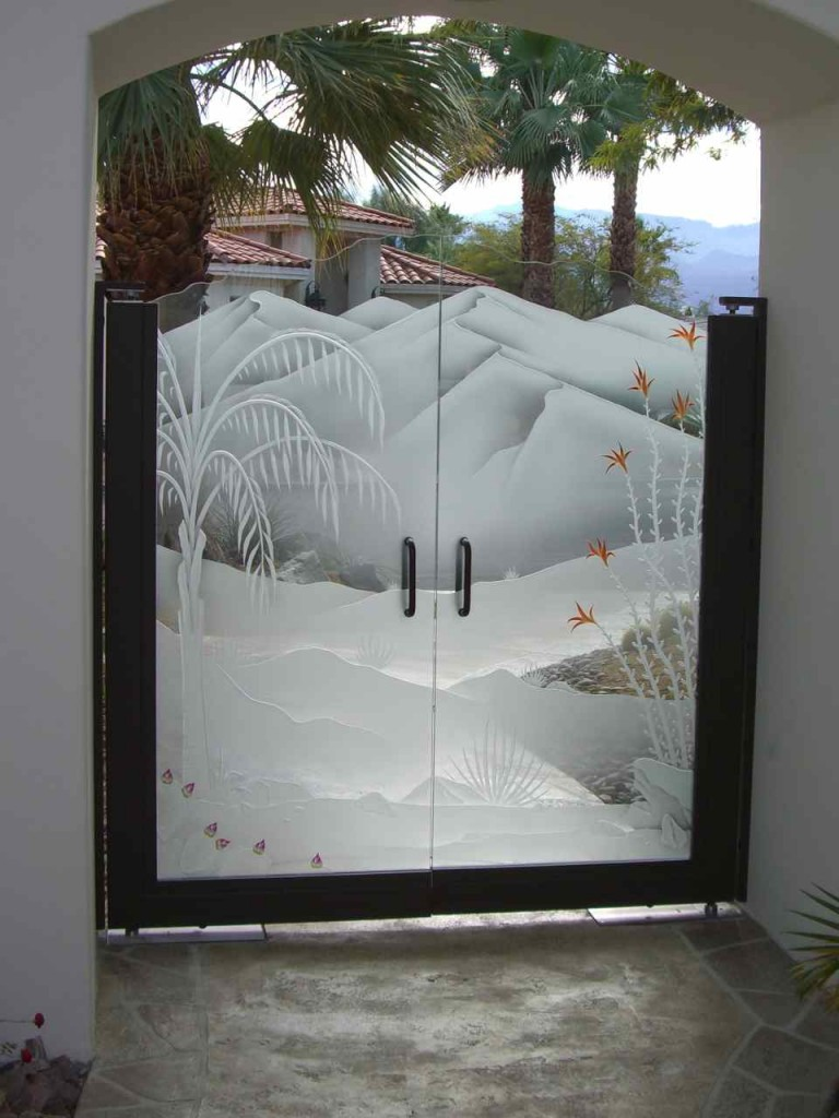 Etched Glass Gate Inserts Sans Soucie Art Glass