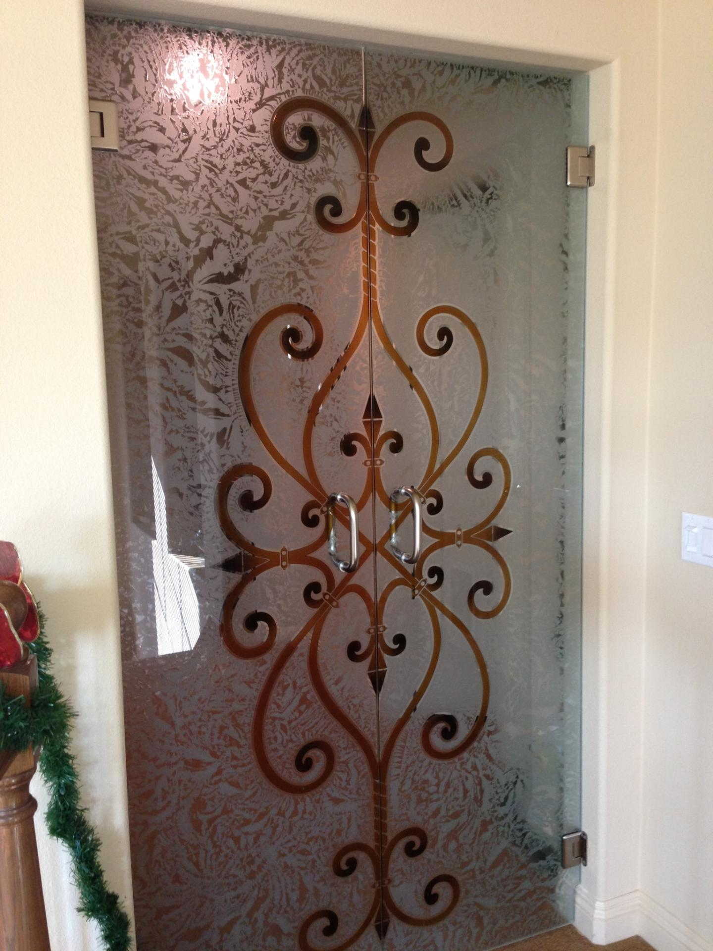 Wrought Iron Designs Sans Soucie Art Glass