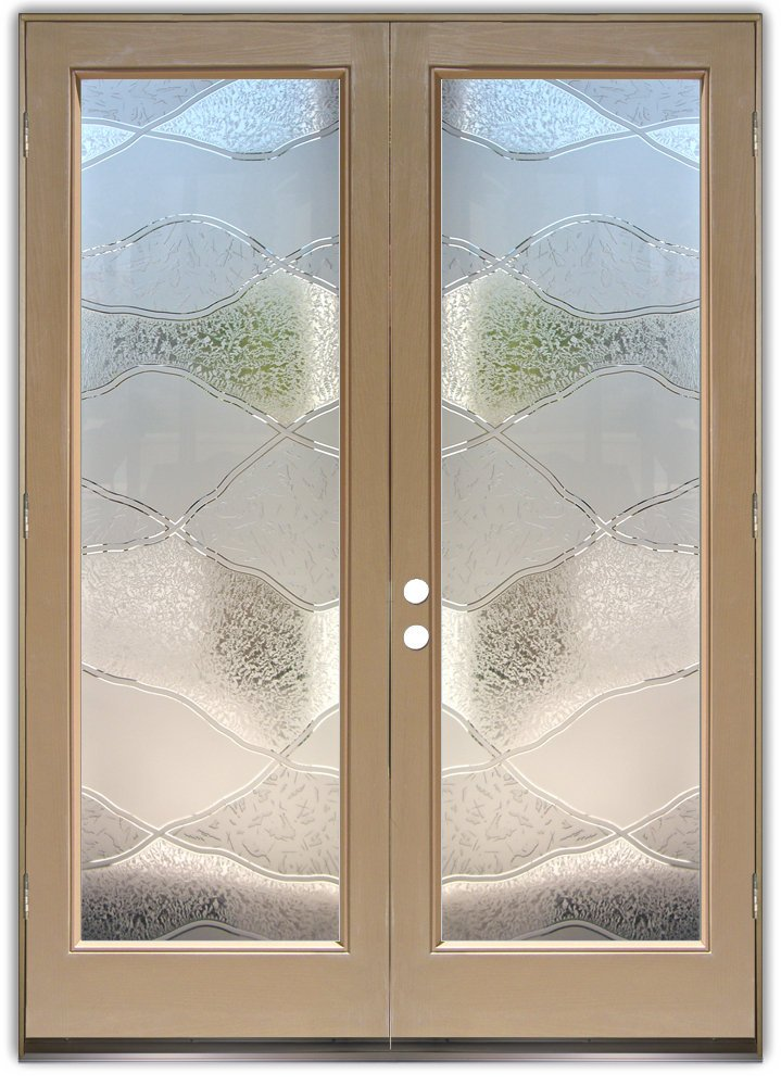 double entry doors with frosted glass designs sans