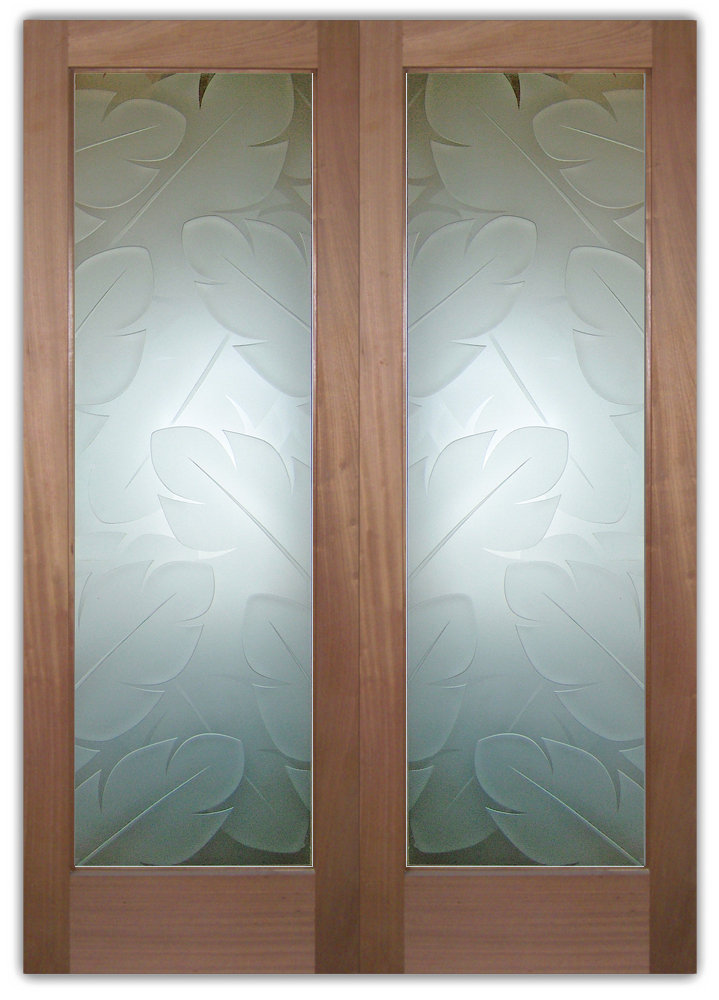 Frosted glass doors banana leaves sans soucie art glass for Glass door in front of exterior door
