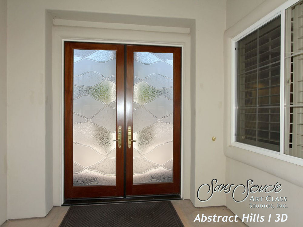 Double entry doors with custom frosted glass sans soucie for Exterior double doors with glass
