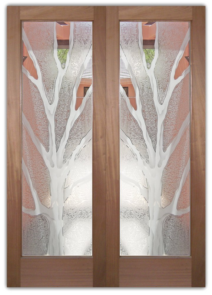 Glass Front Doors Barren Branches Frosted Glass Sans