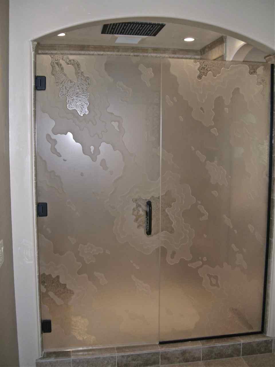 Etched Glass Shower Enclosure Sans Soucie Art Glass