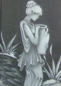 etched decorative glass window young girl clay pot stream