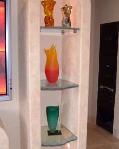 Glass Niche Shelves with Iceberg, chiseled edges