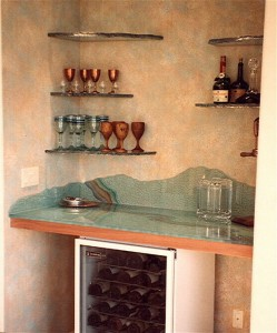 "Etched glass bar top with coordinated glass bar shelves, ""Moonscape"" Texture"