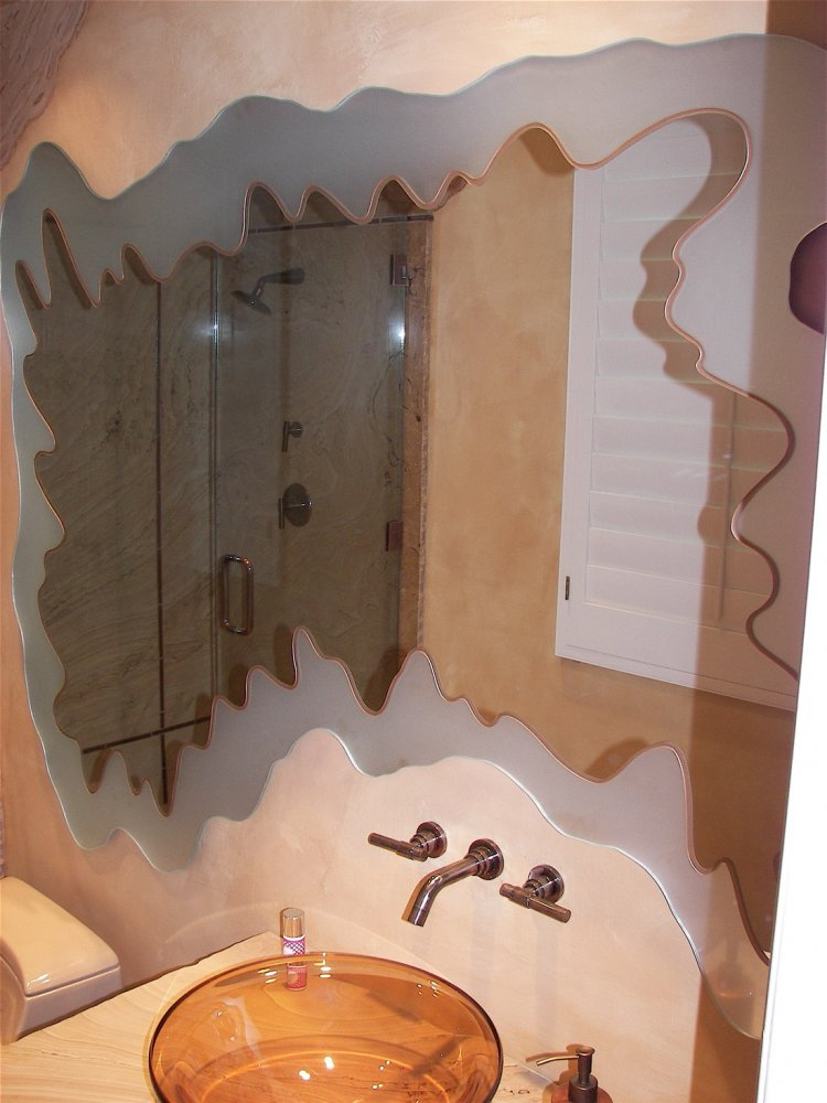 Custom Vanity Mirror, etched/frosted irregular edges, with an added colored glass pinstripe to the inside.