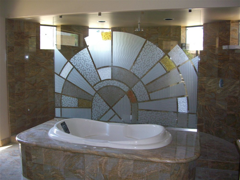 Custom Glass Tub & Shower Partition.  Glass is etched and carved, with painted glass overlay pieces.