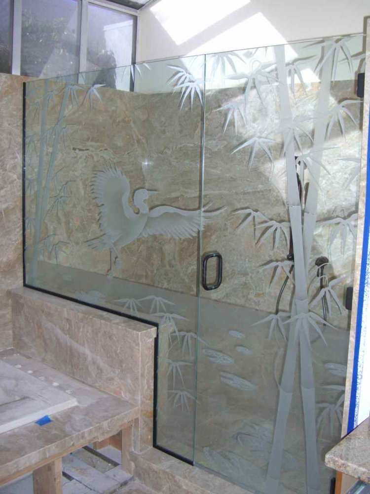 Decorative Glass Shower Etched and Carved with Egret, Bamboo and Lilly Pads & Lotus Flowers.