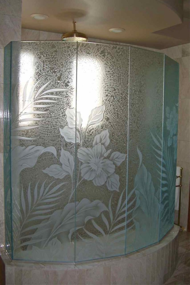 Decorative etched glass shower enclosure panels, etched and carved with Hibiscus flowers, Ferns and Tropical Leaves.  Background is gluechipped for added obscurity.