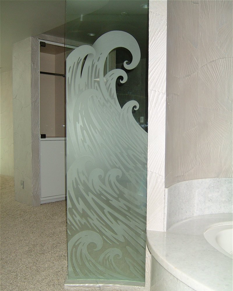 Decorative Glass Bath Partition, etched and carved in ocean wave design.