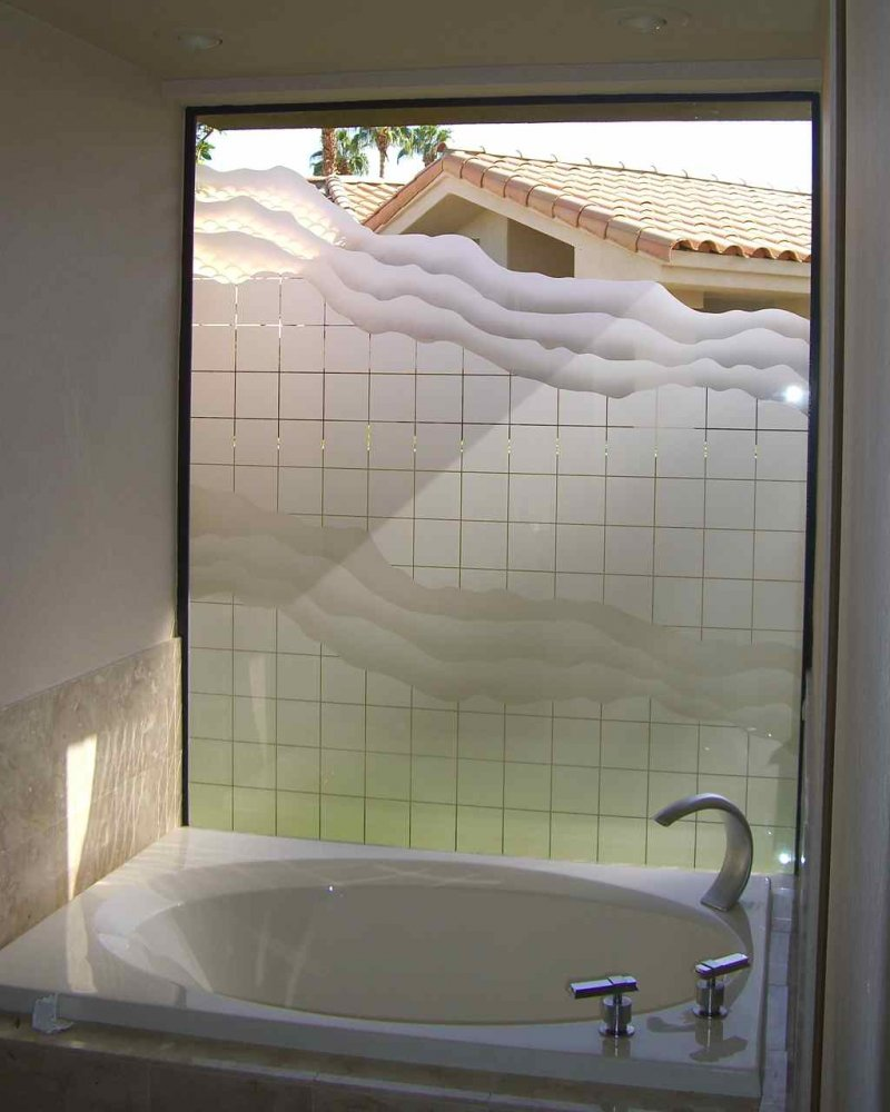 Etched Glass Tub Window.  Geometric squares and waves design.