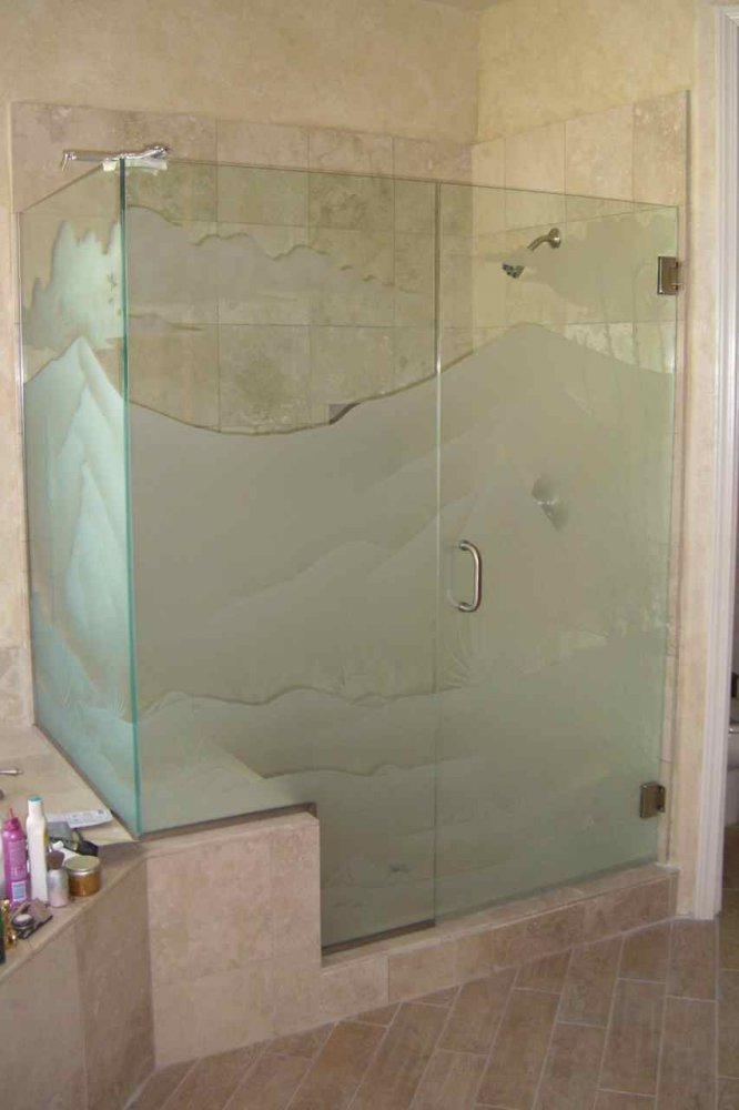 Frameless Glass Shower, etched with Mountain Landscape Scene,