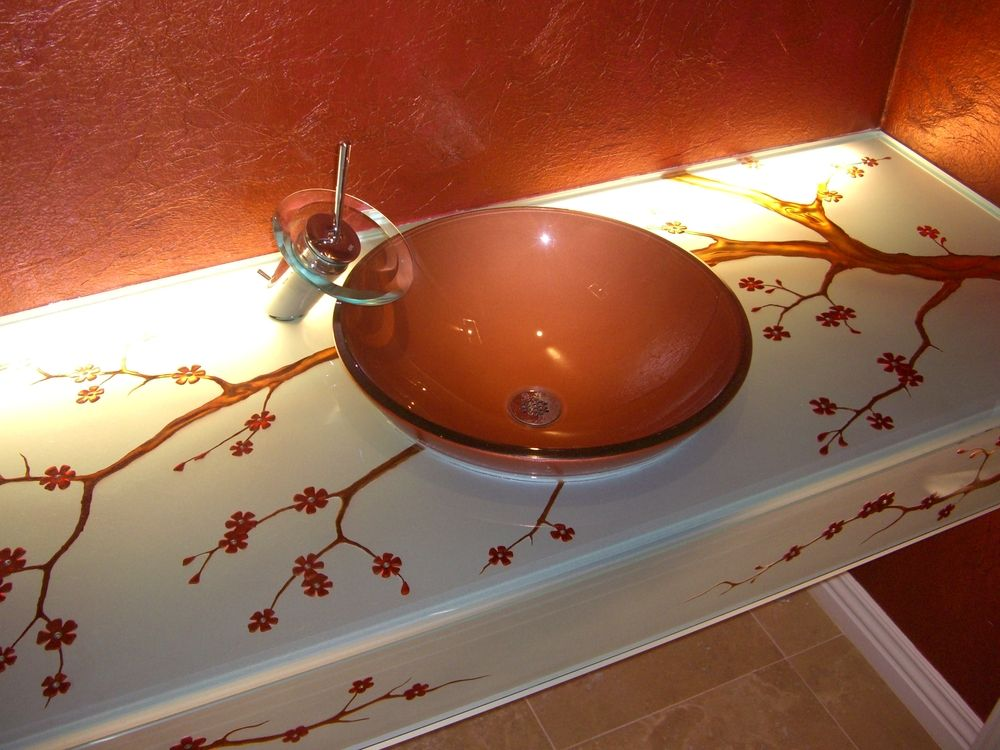 Bath Vanity Glass, Etched & Colored Glass Cherry Blossom Branches & Blossoms.  Glass is lit from beneath.