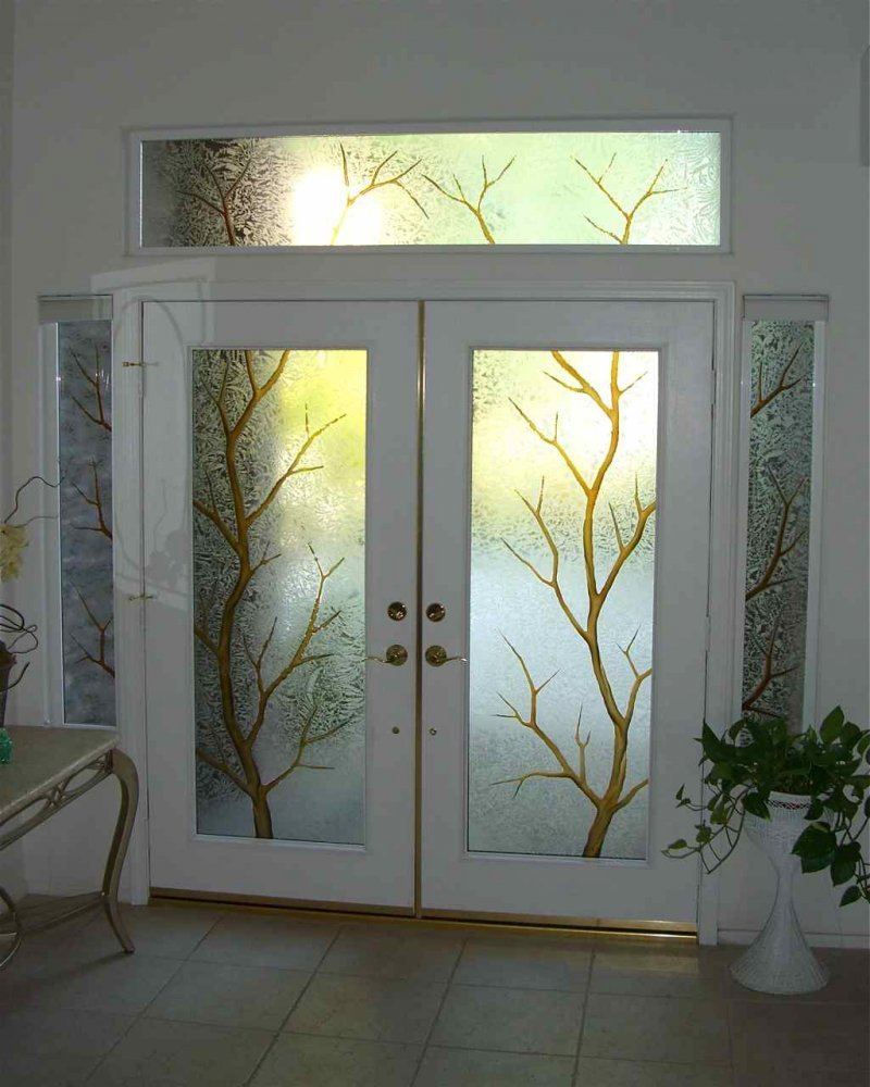 Entry Glass Coordinated Etched Glass Doors Windows Sans Soucie