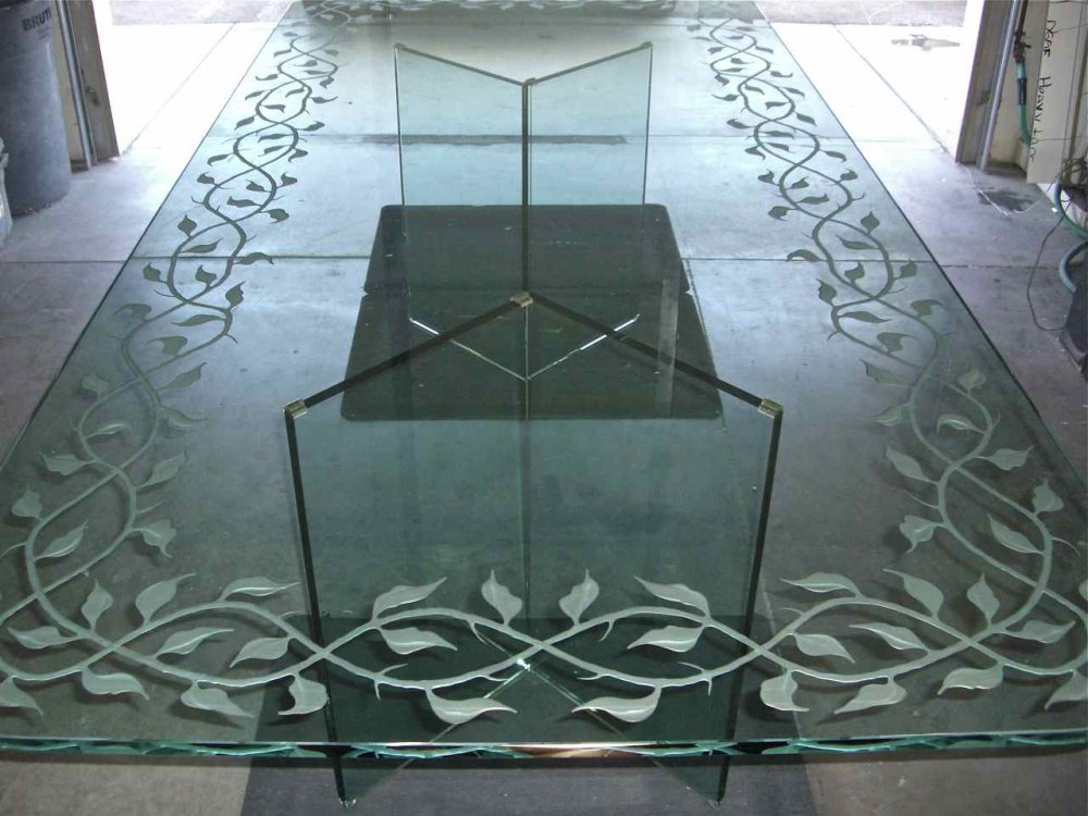 Glass Tables With Custom Etched Carved Designs Sans Soucie