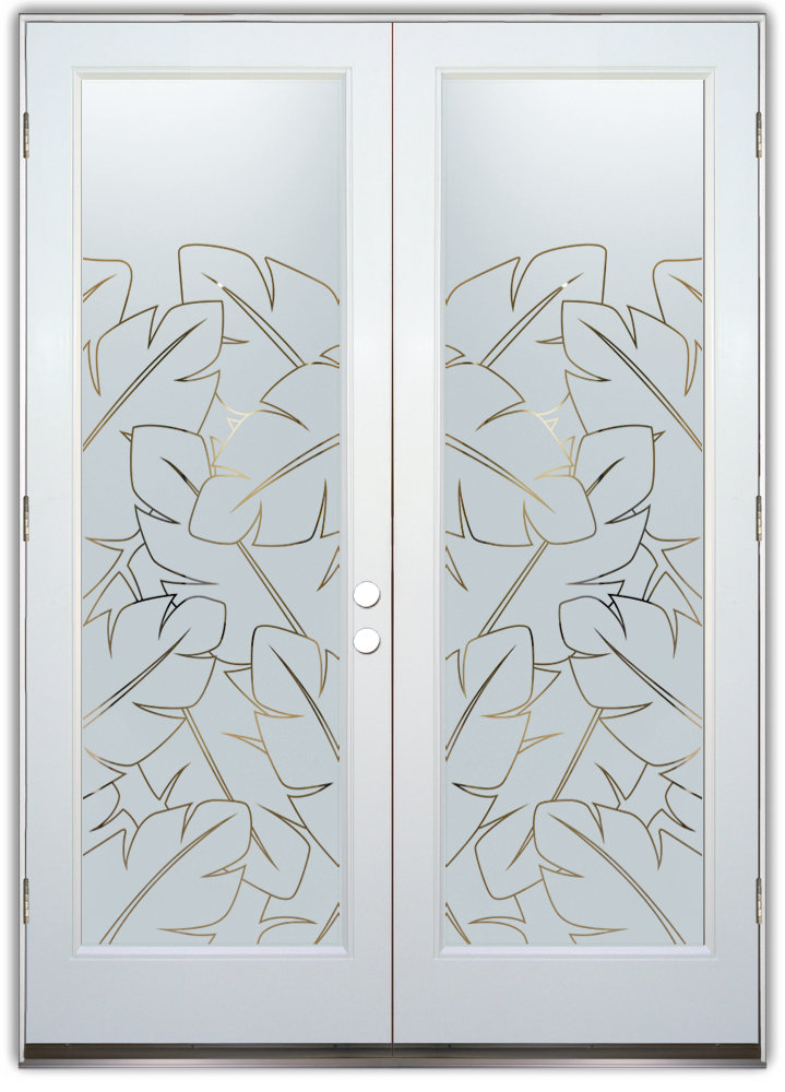 Banana Leaves Door Pinstripe