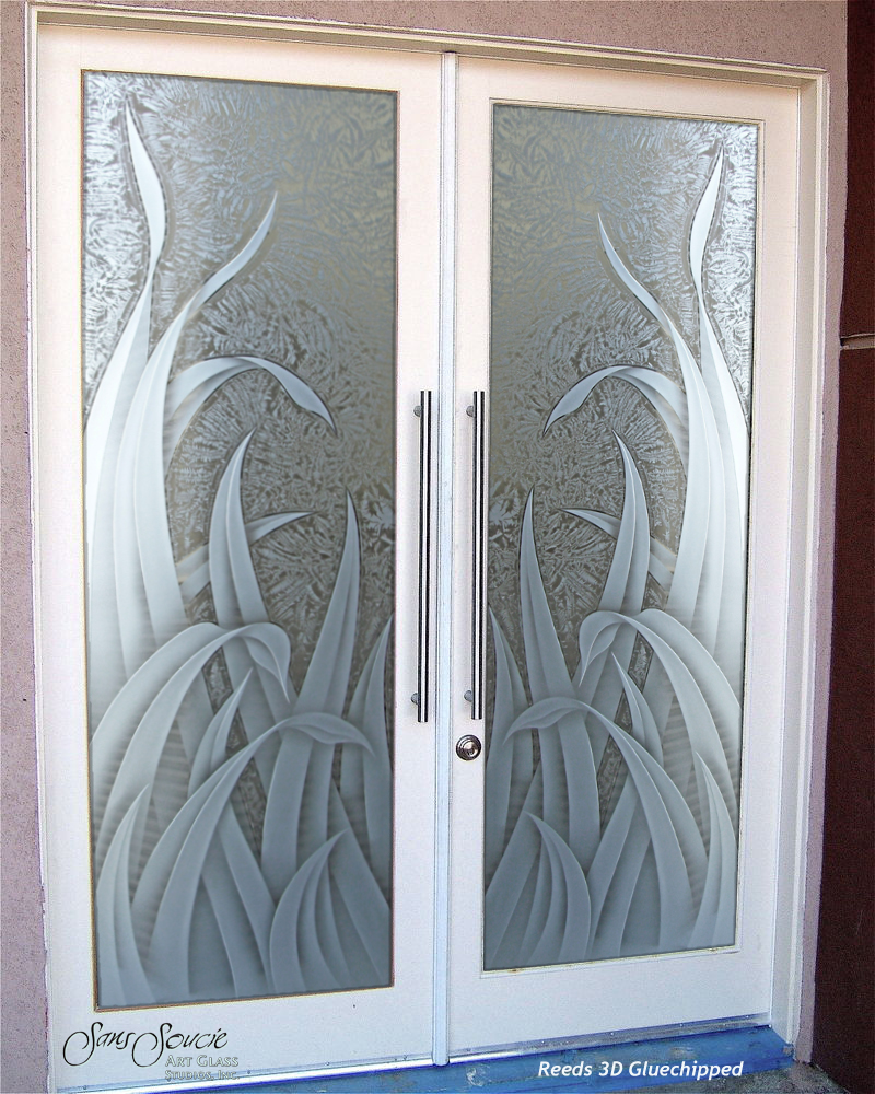 Double Entry Doors With Custom Frosted Glass Sans Soucie