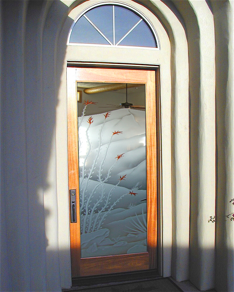 Etched glass door sans soucie art glass for Exterior doors with glass