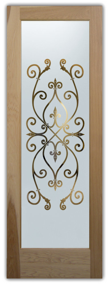 frosted glass doors ironwork