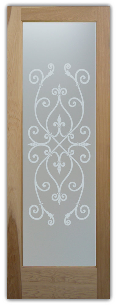 interior glass doors etched ironwk
