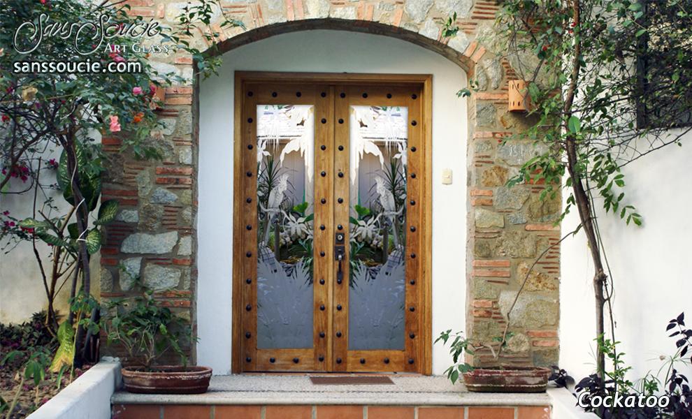 exterior glass doors etched sleek arcs