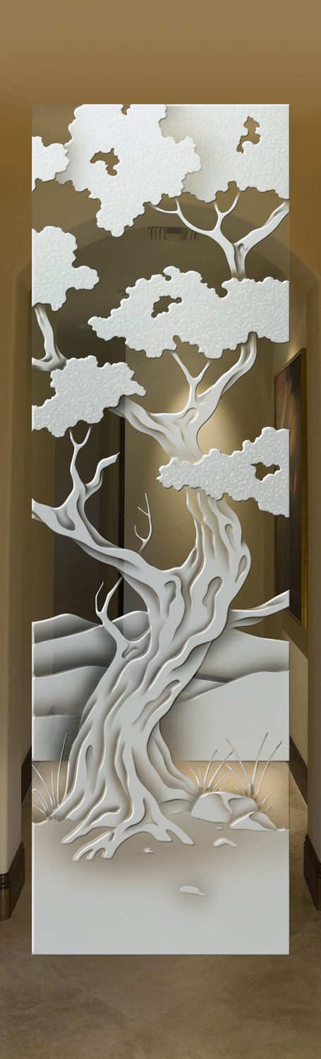 Interior Glass Doors Etched Glass Rustic Decor Oak Trees