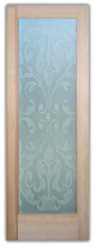 front doors with glass etched sticks