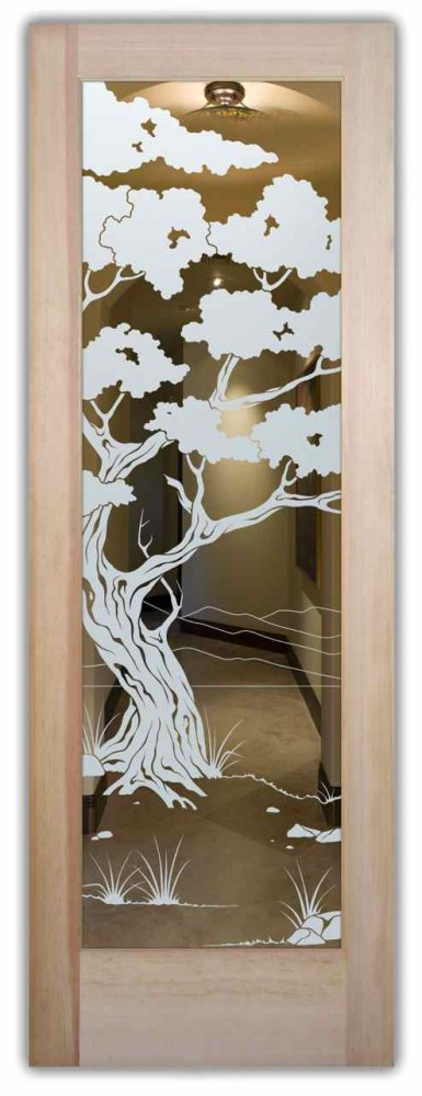 Big Horn Sheep Bronze Etched Glass Shower Door