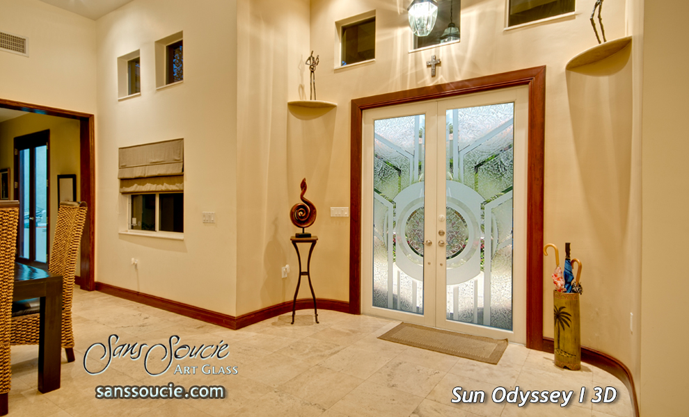 double front etched glass doors traditional