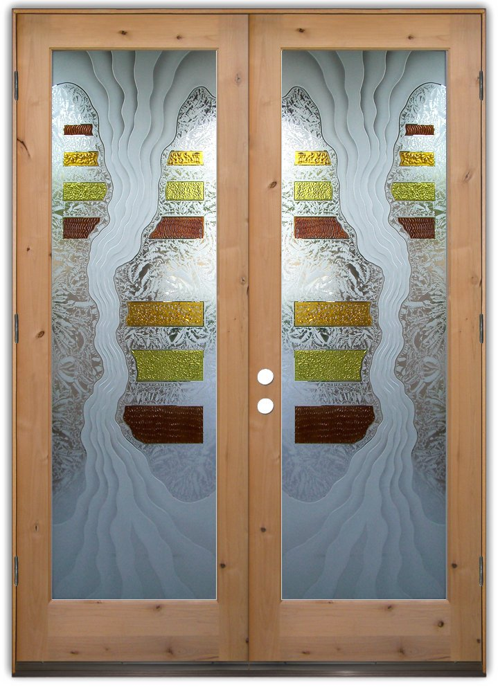 etched frosted carved glass door