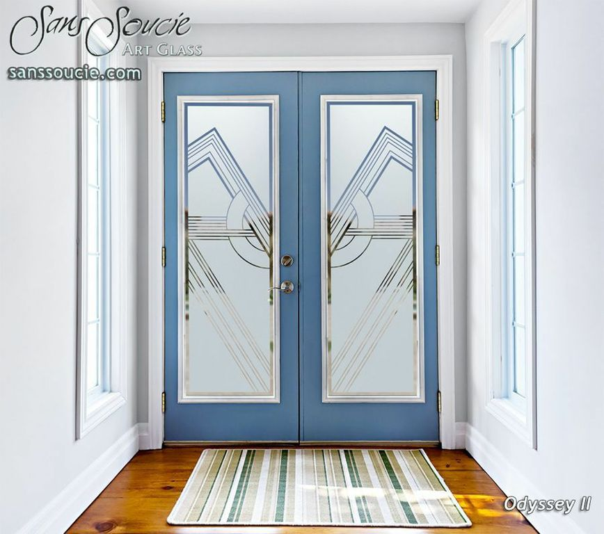 glass entry doors etched glass trees