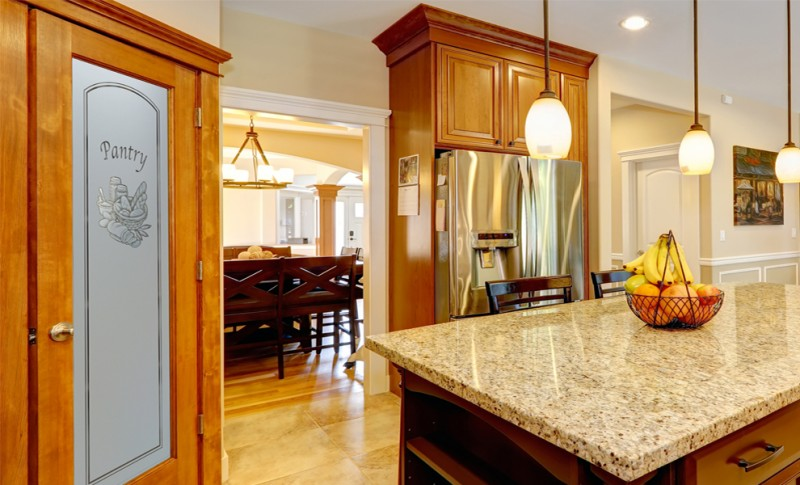 Pantry Doors feature Custom Glass Etchings - Sans Soucie