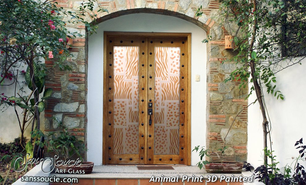 Glass Front Doors Animal Print