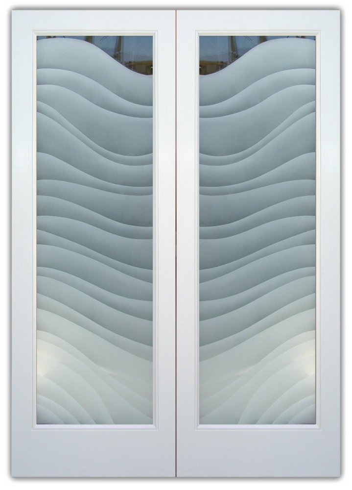 glass entry doors etched waves