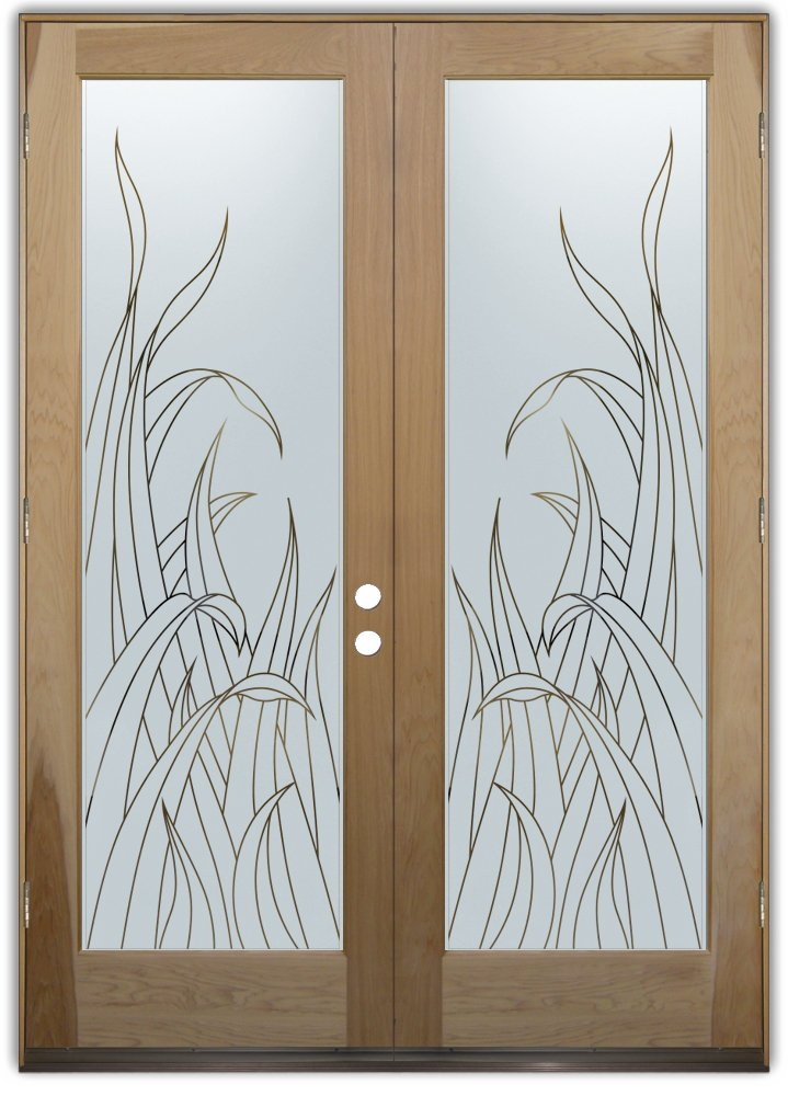 glass entry doors etched reeds
