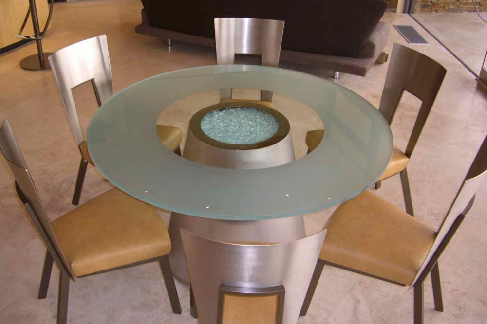 Glass Tables Etched Round Contemporary