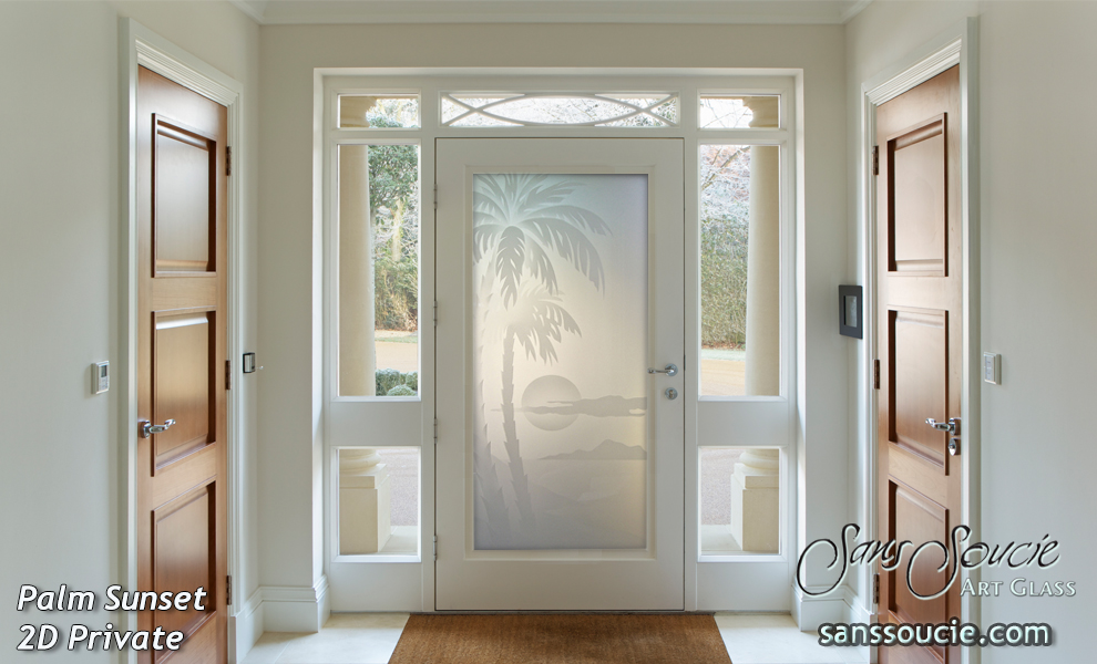 Glass Entry Doors Etched Palm Sunset Sans Soucie