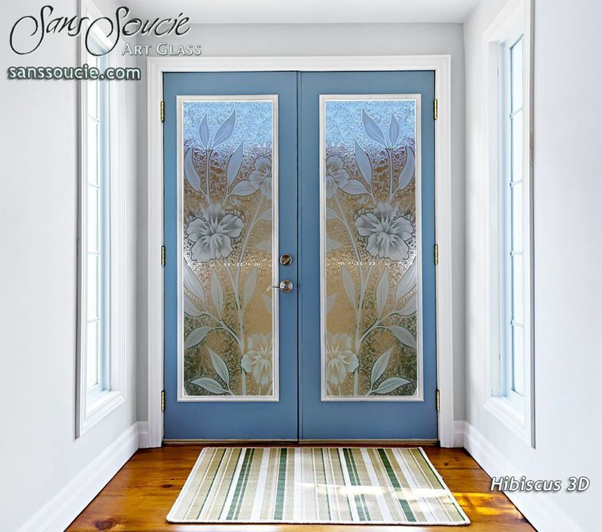 Glass Entry Doors Etched Hibiscus Tropical Sans Soucie