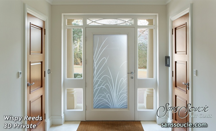 Custom Glass Doors Etched Reeds Traditional