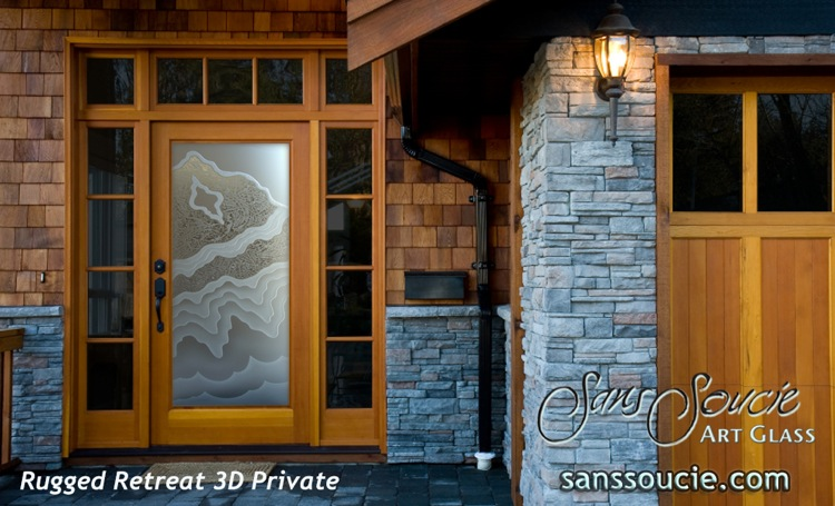 Glass Front Doors Etched Glass Rustic Style Mountain Design Rugged Retreat I 3D Private Sans Soucie