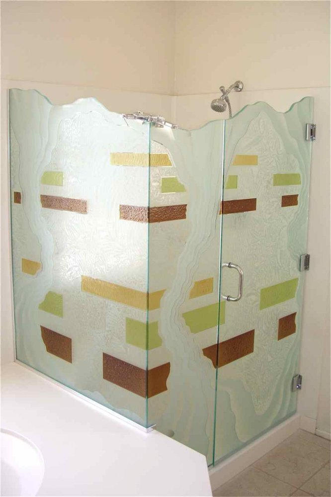 Custom Shower Glass Etched Glass Eclectic Decor Shower Enclosure