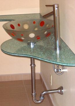 Shattered Glass Reg Clear Irregular Vanity