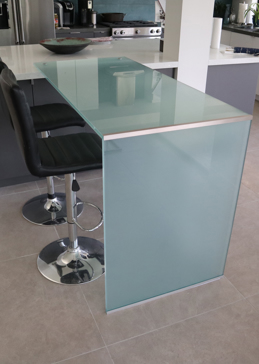 Solid Frosted Glass Waterfall Desk