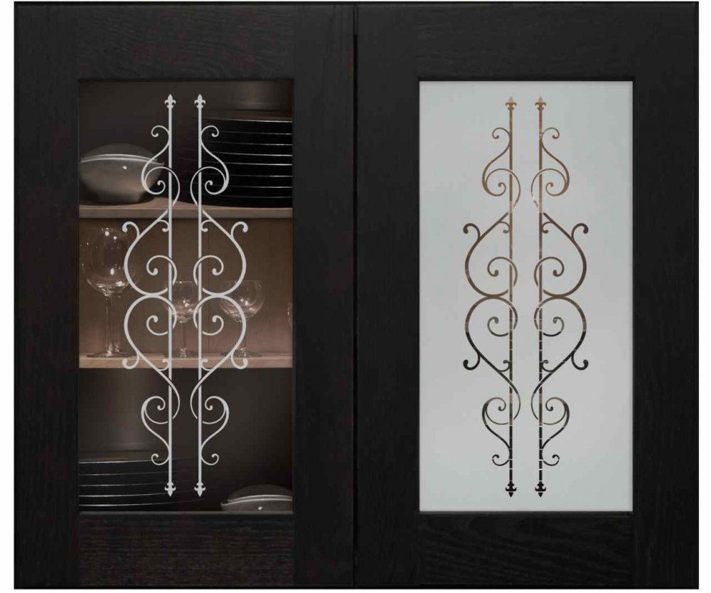 Cabinet with glass shelves doors wrought iron cabinet doors - Wrought iron kitchen cabinet door inserts ...