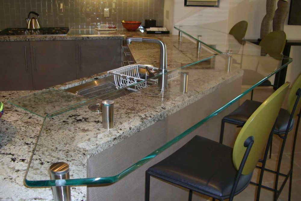 glass kitchen counter bar top floating glass bar top