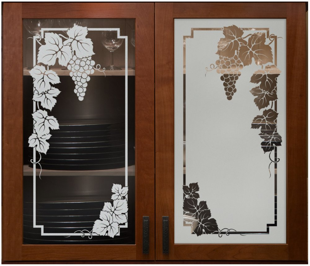 etched cabinet glass grapes grapevine frosted